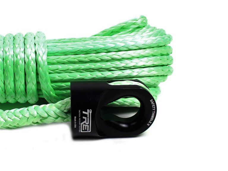 """3/8"""" Lime Green Winch Rope & Safety Thimble"""